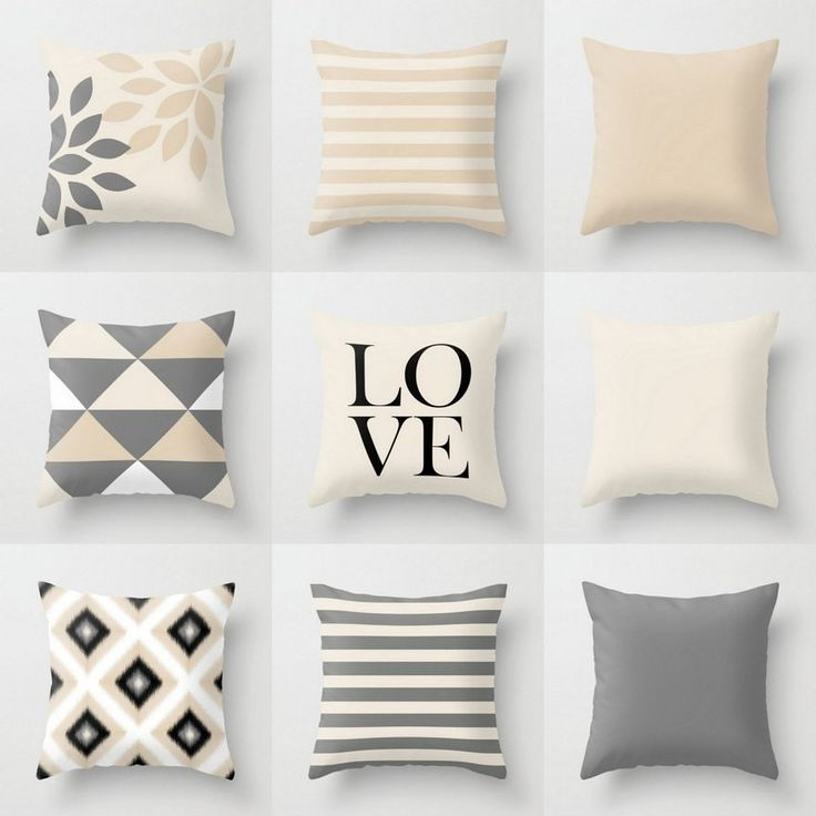 Neutral Pillow Covers, Throw Pillows, Neutral Home Decor, Grey Beige Pillow Covers, Geometric, Love, Stripes, Solid, Decorative Pillow Cover