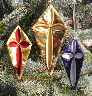 Cathedral Window Ornaments; The Quilt Pattern Magazine,  December 2012; #TQPM #Christmas