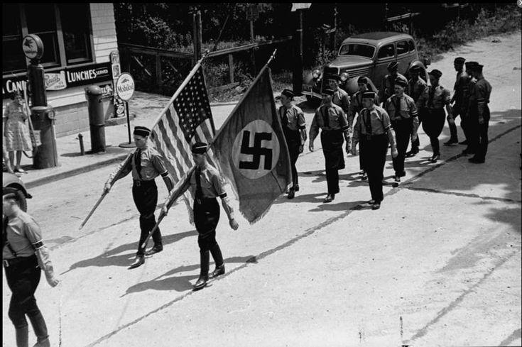 Members of the German American Bund (American Nazi organization) marching in Camp Siegfried, Yaphank, New York, 1937