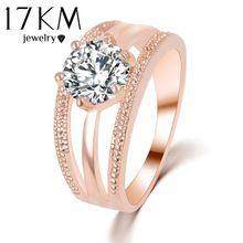 17 KM de Cristales Austriacos Anillo de Flores de Color Rosa En Oro anelli bague anel Anillos para Mujeres anillos de Compromiso anillo de bodas(China (Mainland))