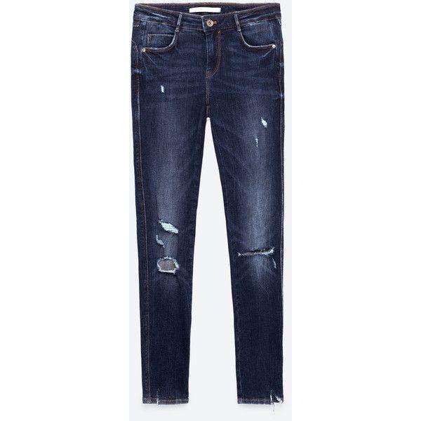 SKINNY - JEANS MIT RISSEN-Alles anzeigen-JEANS-DAMEN   ZARA... ($33) ❤ liked on Polyvore featuring jeans, skinny jeans, skinny fit jeans, cut skinny jeans, blue skinny jeans and skinny leg jeans