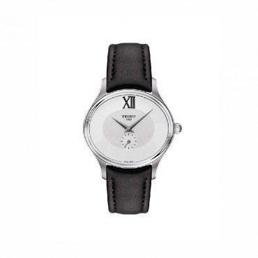 T1033101603300 Ρετρό κλασικό οβάλ γυναικείο ρολόι TISSOT BELLA ORA σε ασημί καντράν και μαύρο δέρμα | Ρολόγια TISSOT στο Χαλάνδρι ΤΣΑΛΔΑΡΗΣ