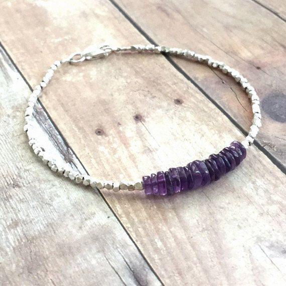 Bracciale di ametista Hill Tribe argento perle gioielli