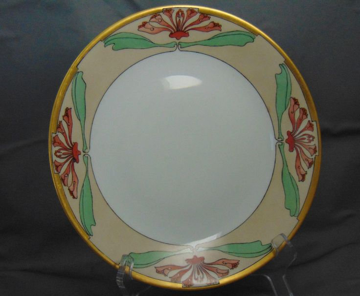 """Delinieres & Co. (D&Co.) Limoges Arts & Crafts Floral Motif Plate (Signed """"Mary A. Warren""""/Dated """"April 2, 1912"""")"""