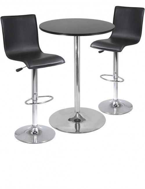 Winsome Wood 93345 Spectrum Pub Table Set Round Table with 2 L-Shape Airlift Stools  sc 1 st  Pinterest & Best 25+ Tall bar tables ideas on Pinterest | Bar table and stools ... islam-shia.org