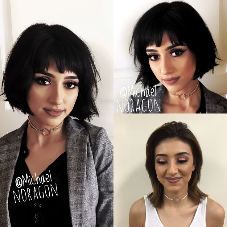 Before and after. Shorter horizontal bob with a great fringe.