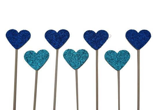 Glittery Heart or Star Cake Toppers  BLUE  pack by CraftsbyVerity