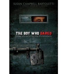 The Boy Who Dared by Susan Campbell Bartoletti. Just as the Nazis are rising to power, Helmut Hubener, a German schoolboy, is caught up in all the swashbuckling bravado of his time. In the beginning, Helmuth's patriotism is unwavering.  But every day the rights of people all over Germany are diminishing. The world has turned upside down: Patriotism means denouncing others, love means to hate, and speaking out means treason.