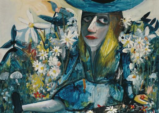 Charles Blackman ~ Alice Amongst Flowers, 1958