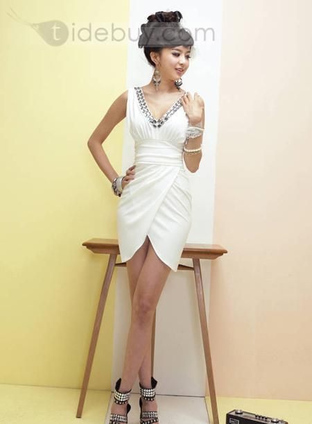 Cheap V- neck Sheath Slim dress : Tidebuy.com