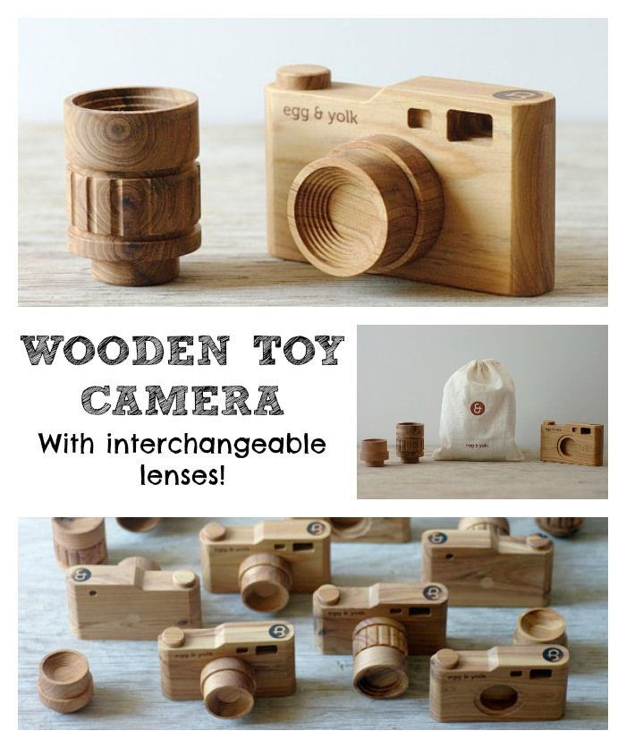 Beautiful Wooden Toy Camera with interchangeable lenses! Too cute not to share!