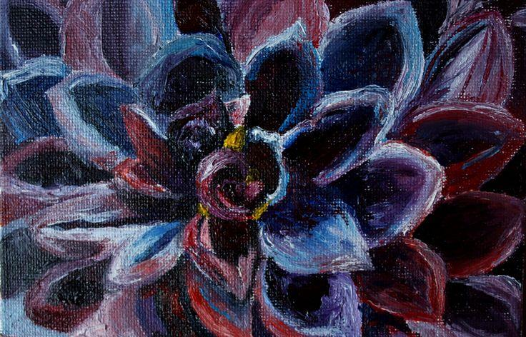 Violent pink unusual flower. Цветок. Необычный красивый цветок. Миниатюра маслом. Красный фиолетовый цветок. Георгин.  dahlia by teslimovka on Etsy