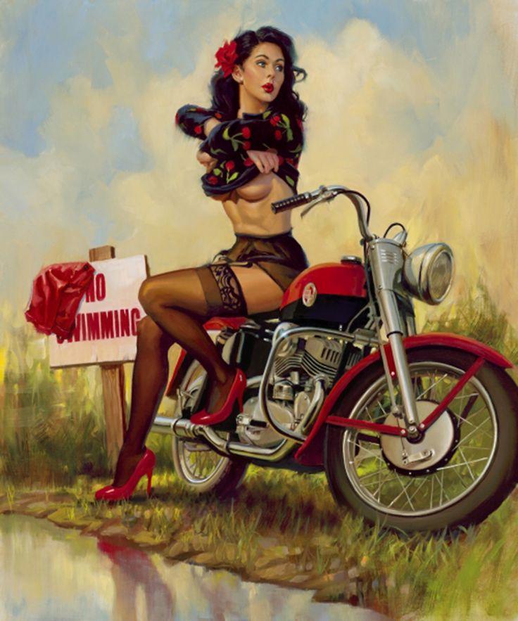 Clothing Optional. #pinup #motorcycle #motorbike