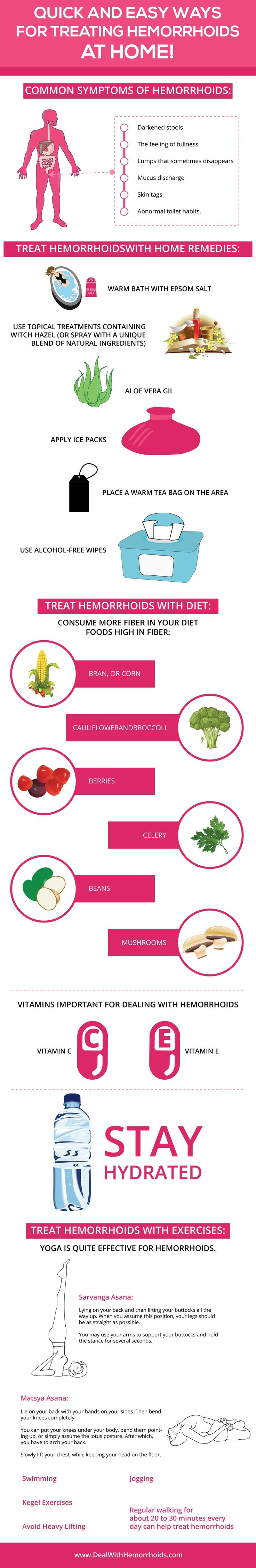Quick and Easy Ways for Treating Hemorrhoids at Home (Infographic)!