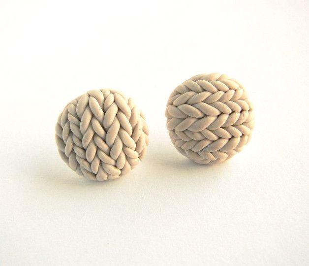 Sztyfty Kremowe Sweterki - YummyCookie - Kolczyki wkrętki z modeliny