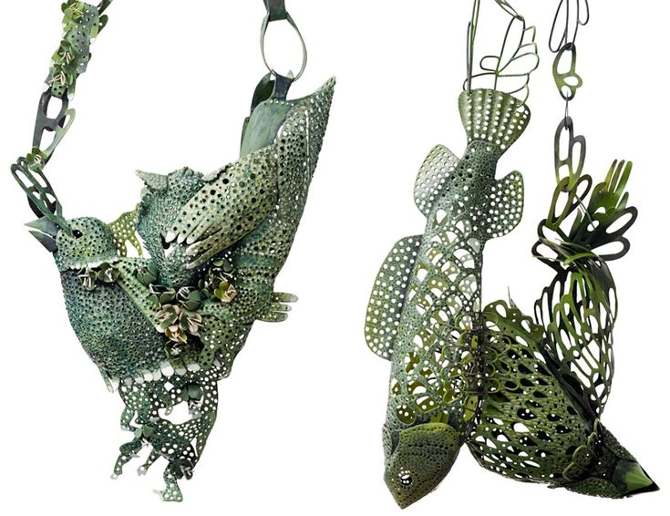 the series 'while they await extinction' by swedish jewelry designer hanna hedman is based on the forms of endangered animals,  recreating in metal the bodies of animals and plants melded into one another, as though creating new forms of life