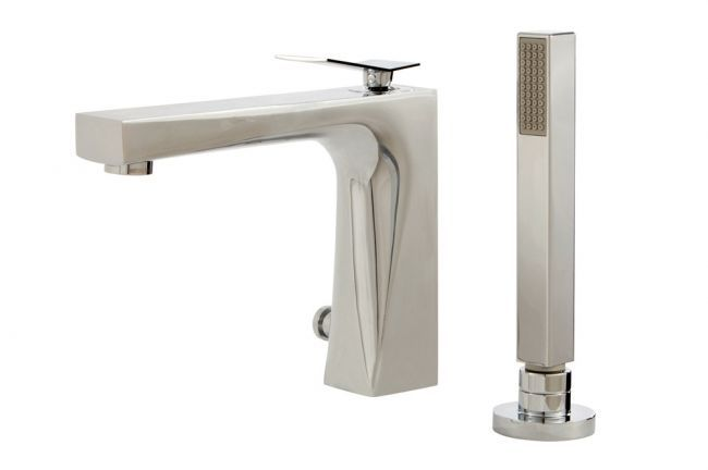 Modern 2-piece tub filler with hand shower by Aquabrass / Chicane Collection