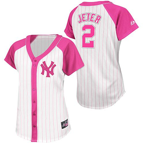 ... New York Yankees Derek Jeter Womens Pink Splash Fashion Player Jersey  by Majestic Athletic - MLB ... 7830e88de11