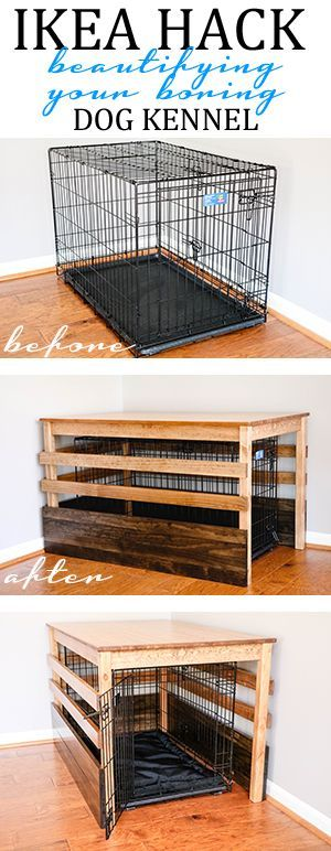IKEA Hack the IKEA INGO Pine Table into a more visual appealing cover for your dog kennel.