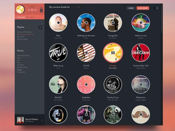 Music app concept by Benoît Philibert