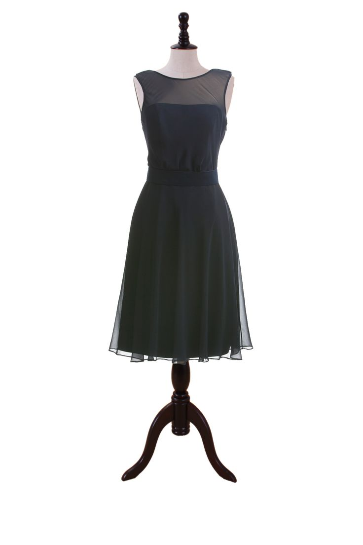 Sleeveless Chiffon Dress with Bateau Neckline. Available in many colors