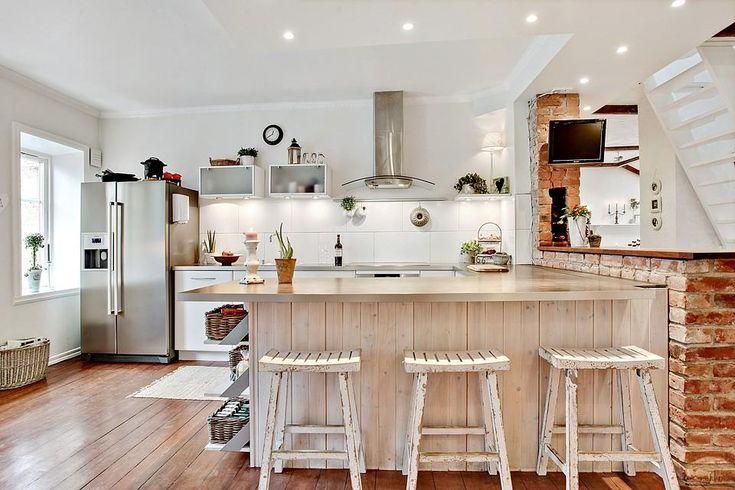 czerwona cegła w aranżacji kuchni