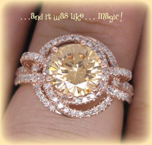 Rare Round Champagne Morganite Vintage Engagement Ring in Diamond Double Halo Setting 14K Gold on Etsy, $1,540.00