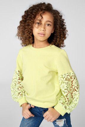 Yeşil Kolu Dantelli Kız Çocuk Sweatshirt