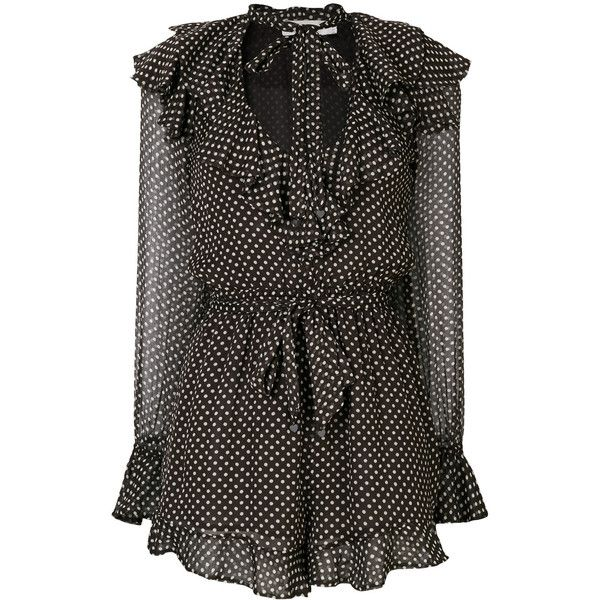 Zimmermann polka dots ruffled playsuit (16,820 EGP) ❤ liked on Polyvore featuring jumpsuits, rompers, brown, tie romper, zimmermann romper, long-sleeve rompers, long sleeve v neck romper and polka dot rompers