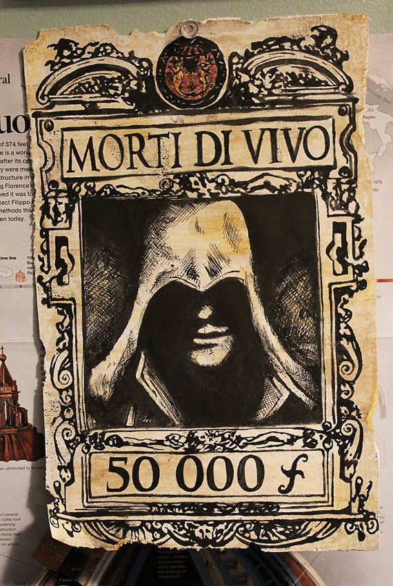Assassin's Creed 2 Wanted Poster on Etsy, $15.00 :)