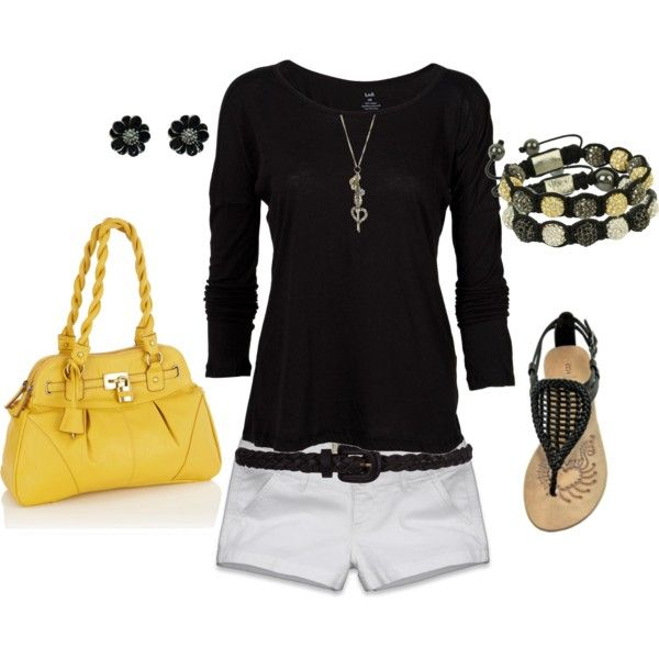 Pop of yellow!Sapple324, Fashion, Summer Outfit, Short Outfits, Clothing, Pursees Outfit, Cute Casual Outfits, Polyvore, Untitled 24