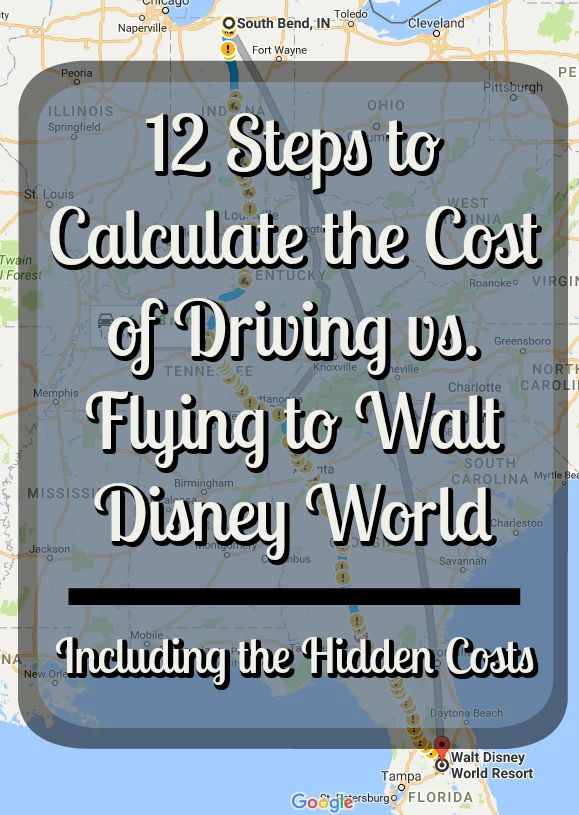 Here are the 12 step to calculate the cost of driving vs. flying to Walt Disney World including the hidden cost associated with each option.