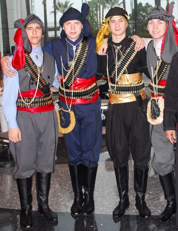 Traditional costumes from the eastern Black Sea Coast.  Ethnic group: 'Rum' (Pontic Greek).  Clothing style: early 20th century.  These are recent workshop-made copies, as worn by folk dance groups.