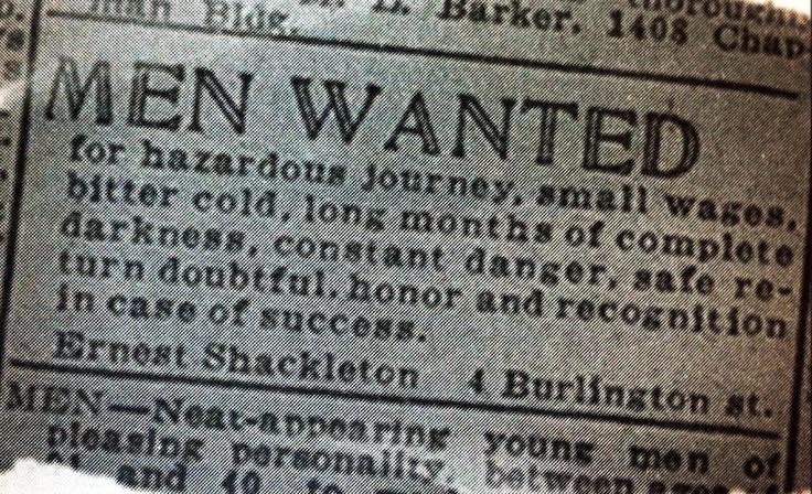 Shakelton's add to recruit the Endurance crew