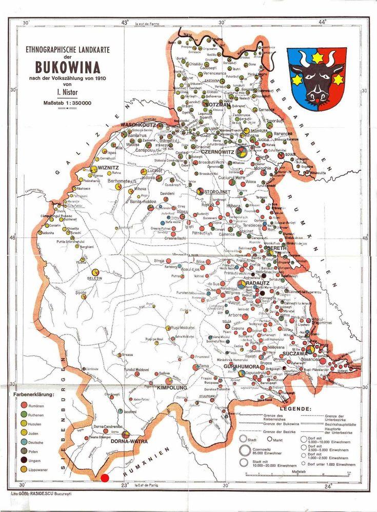 Harta etnică a Bucovinei (conf. recens. din 1910) de Ion Nistor Etnic map of #Bucovina 1910
