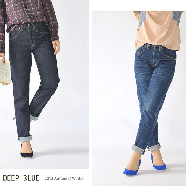 【楽天市場】ブランド別> 【D】> DEEP BLUE(ディープブルー)> 14.5ozデニム スリムフィット ボーイフレンドパンツ:Crouka(クローカ)