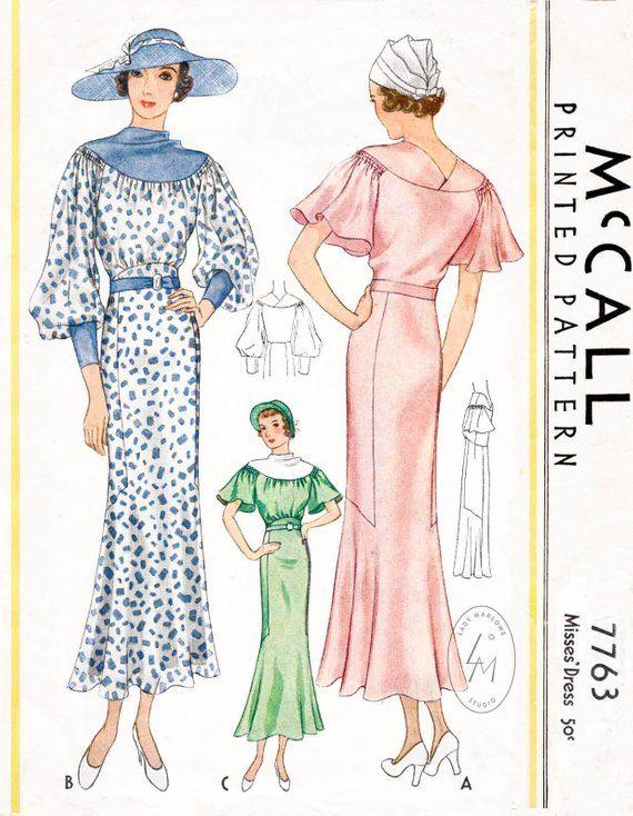 Vintage sewing pattern 1930s 30s dress pattern in 2 styles // // art ...
