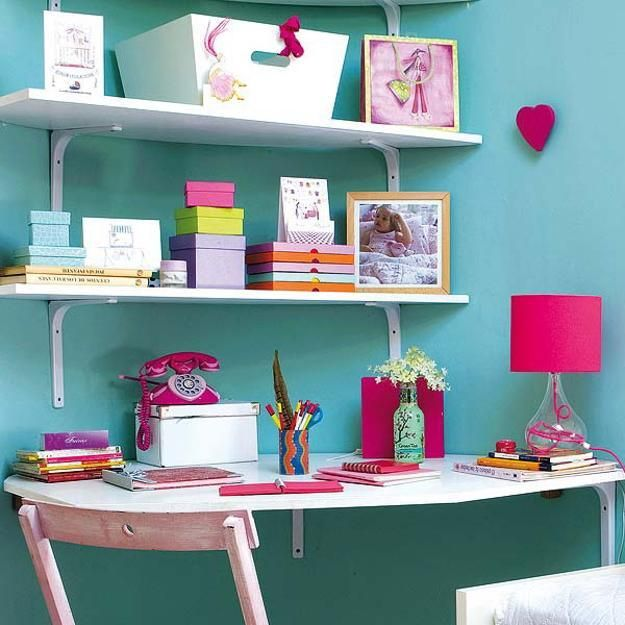 teen bedroom ideas turquoise | Kids furniture, built-in corner desk, wooden chair and wall shelves