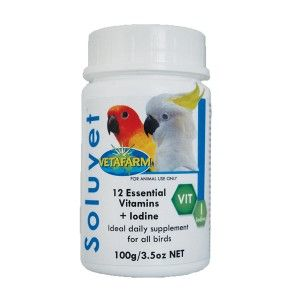 Soluvet - A combination of 12 essential vitamins and Iodine designed by Avian Vets to supplement the diet of all birds. Vitamins are necessary for optimum health in young developing birds, mature and older birds alike.  Soluvet may be added to food or water and is useful as a supplement to aid in recovery from illness.
