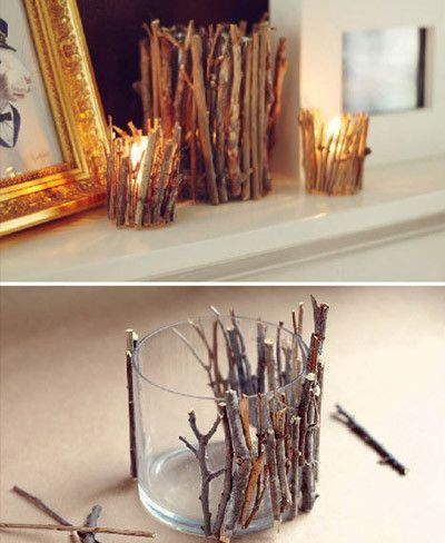Decorar con velas y algunas ramas #DIY #Decoracion
