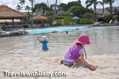 Toddler-friendly sand-bottom pool - one of FOUR swimming pools at Kauai Beach Resort - follow link for my full review ;-)