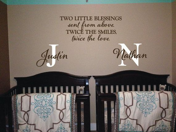 Two little blessings sent from above twice the smiles twice the love - vinyl decor Twins Sayings decal