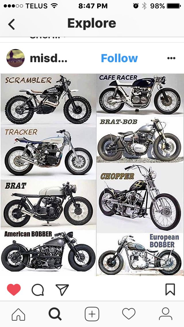 Types Of Motorcycles Brat Cafe Racer Scrambler And Co By Diane