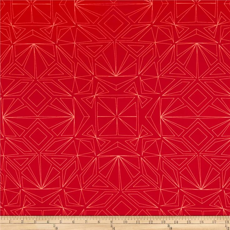 "Kaufman Fractals 108"" Wide Geo Red"