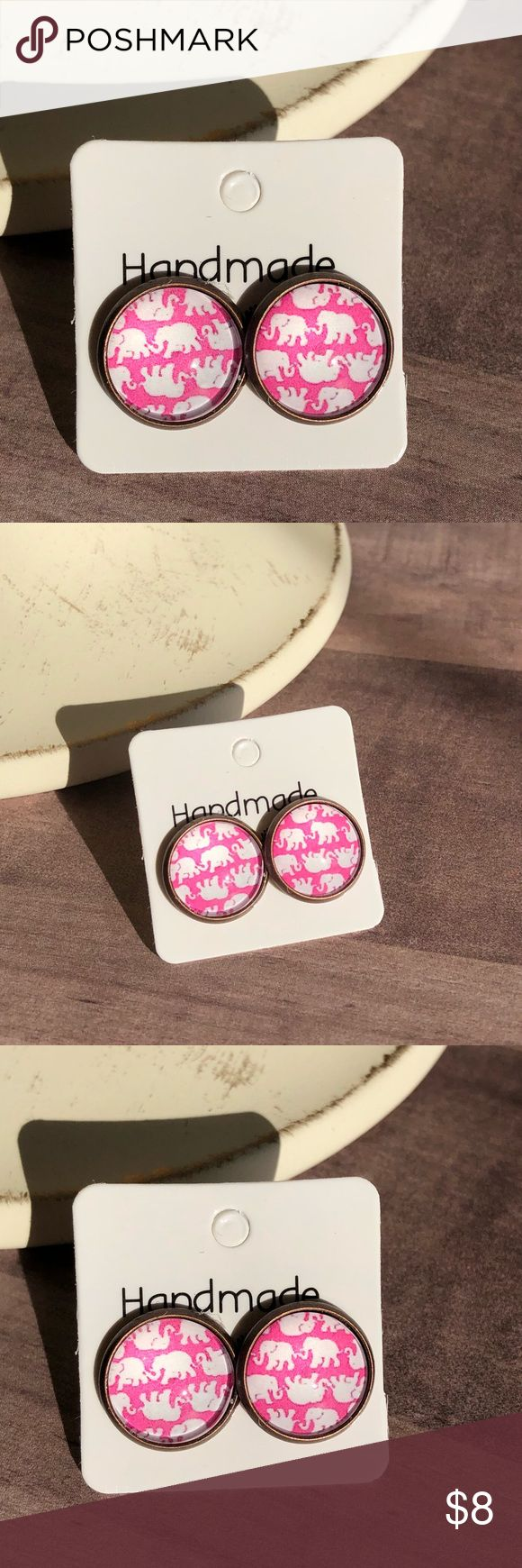 "🆕Boho Pink Elephant Bronze Stud Earrings! New, Handmade by Me! Approx. 1/2"" Diameter, 12mm; Weight 8g; Adorable Pink with White Elephants Boho Glass Stud Earrings on a Vintage Bronze Post Back; 📸These are my pics of the actual item you will receive!  ▶️Part of 3 for $15 Deal! Bundle & Save! • Glass Cabochon Stud Earrings for pierced ears • Nickel, Lead & Cadmium Free  *NO TRADES *Price is FIRM as Listed!  *Sales are Final-Please Read Descriptions! gallery_of_gems Jewelry Earrings"
