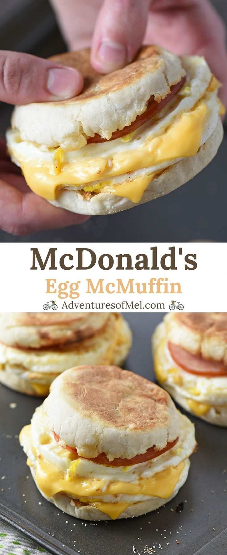 McDonald's Egg McMuffin, made with Canadian bacon, eggs, and cheese, is a delicious homemade breakfast sandwich and a super easy recipe for busy mornings! #easyrecipe #copycat #breakfast #McDonalds