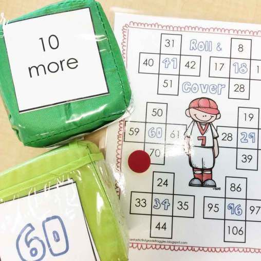 Baseball math centers- roll and cover 10 more/less