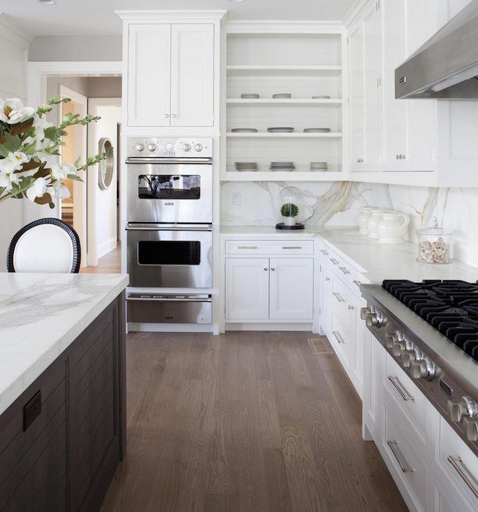Amazing Two Tone Kitchen Design With Walnut Kitchen Island With