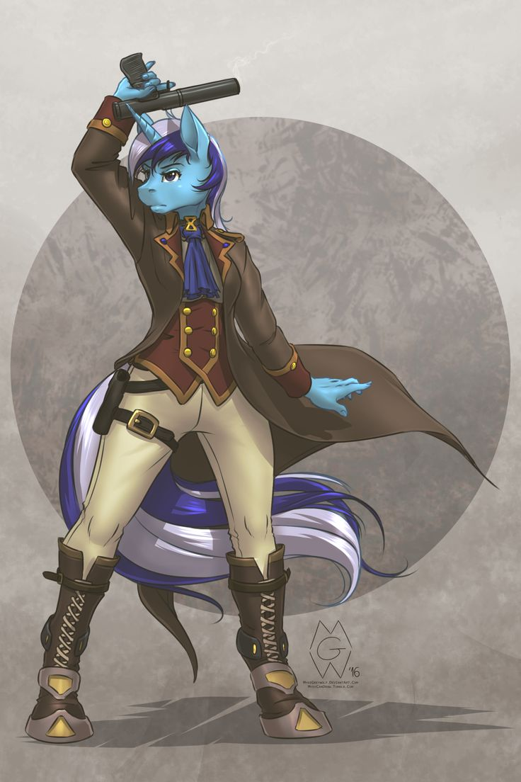 e621 2016 anthro anthrofied boots clothing colgate_(mlp) equine footwear friendship_is_magic gun horn mammal my_little_pony mykegreywolf ranged_weapon solo steampunk trenchcoat unicorn weapon