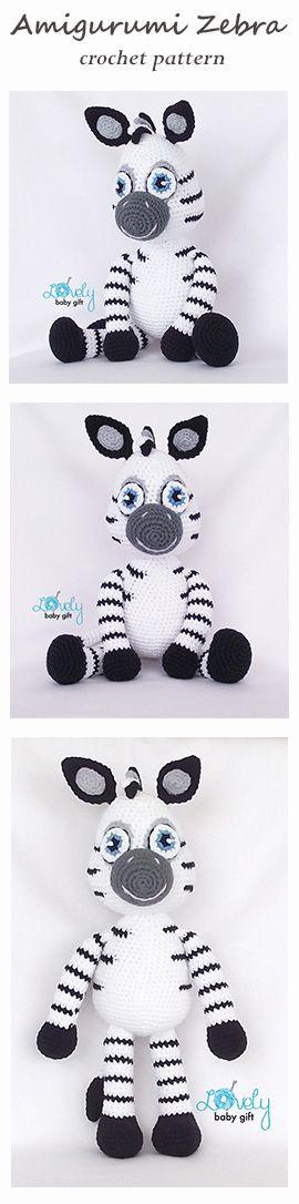 Crochet Pattern - Amigurumi Zebra, crochet animal pattern https://www.etsy.com/listing/385925574/amigurumi-pattern-zebra-animal-crochet?ref=shop_home_active_1